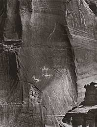 petroglyph, horses and riders